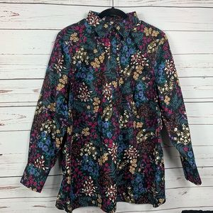 Land's End Blouse Floral 5 Button Lng Sleeve NWOT